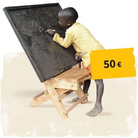 Link zum Spendenshop:Kind an der Tafel mit Button 50 Euro