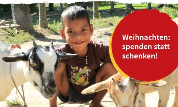 Link zum Spendenshop: Junge mit zwei Ziegen, Schriftzug: Weihnachten: spenden statt schenken!