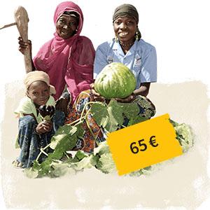 Zwei Frauen und ein Kind in einem Gemüsebeet daneben Preisschild 65 Euro