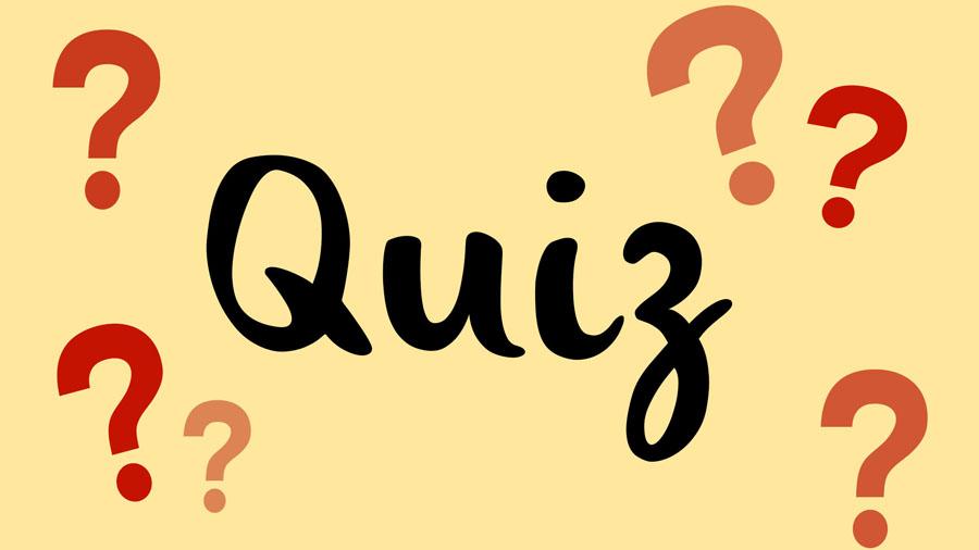 Das Wort Quiz auf gelbem Hintergrund