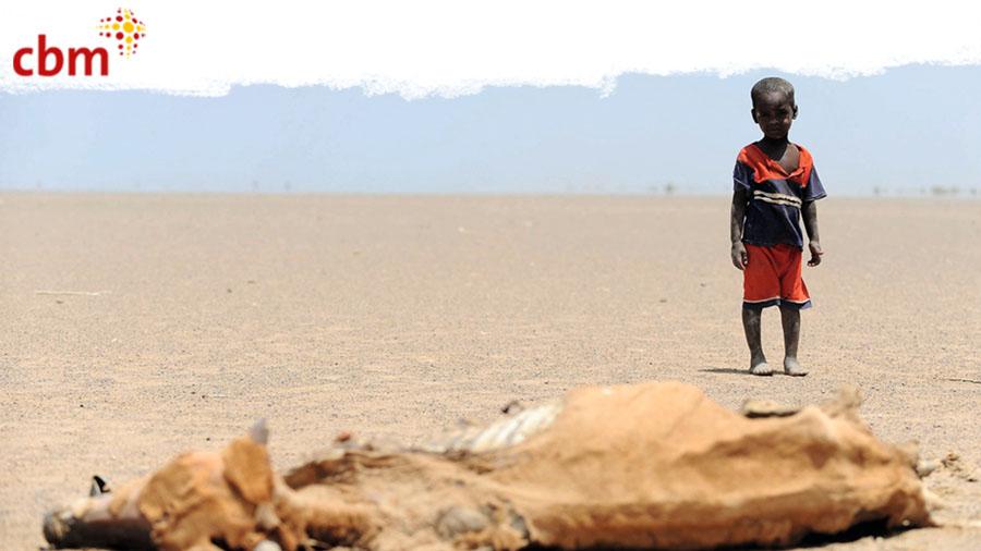 Afrikanischer Junge in der Wüste. Vor ihm liegt eine tote Kuh.