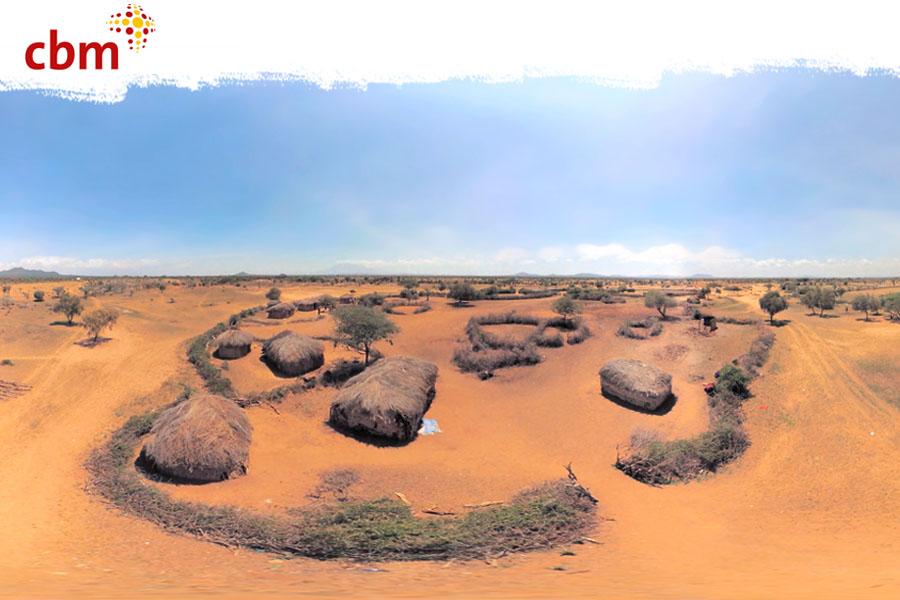 Panoramabild eines Massai-Dorfes