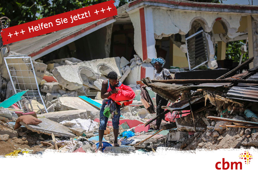 Zerstörtes Gebäude nach dem Erdbeben in Haiti